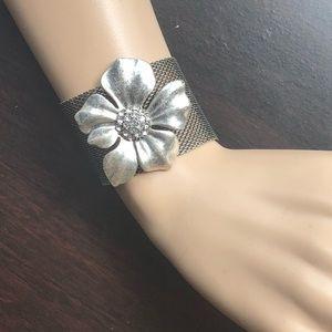 Magnetic Silver Flower Statement Bracelets